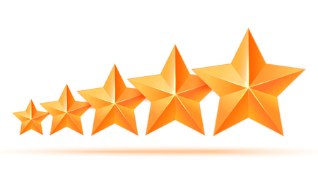 star award: Realistic 3D gold star. Award winner. Five gold stars. Good job. Best reward. bulk copper star. Simple 5 star on a white background. The award for the best choice. Premium class. illustration