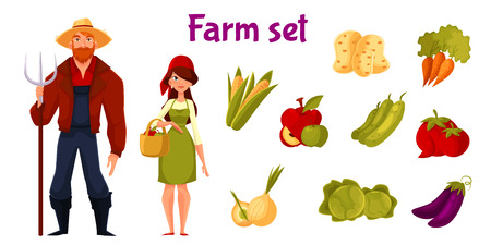 garden stuff: Farm business, set of vegetables and farmers man and woman, elements on a white background, vegetable icons, large farmhouse set for your infographic or advertising of healthy and organic food