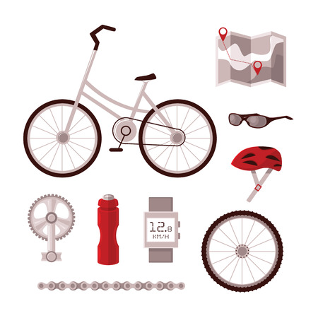 circuit brake: Set cyclist set for cycling, bicycle, pedal, chain, wheel, sports clothing, map, Recker, all led to infographics and information on cycling in the city.