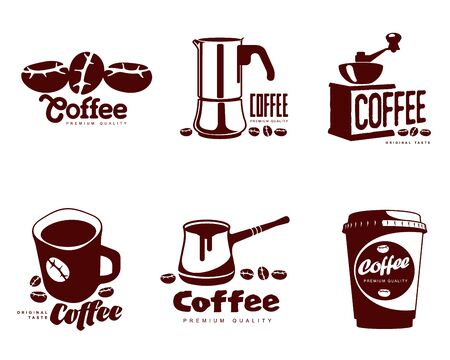 long drink: Coffee logos, vector simple coffee symbols Set of coffee symbols on a white background for coffee or restaurants, mug, coffee beans, a Turk, a coffee grinder, a glass, a set of elements Illustration
