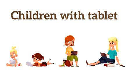 Kinderen meisjes van verschillende leeftijden gespeeld in tablet en niet spelen in de straat, vector cartoon begrip van de hedendaagse kinderen, de kinderen zitten en chatten op het internet, vier meisjes op zoek naar smartphone Stock Illustratie