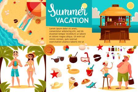 Infografik mit Reise-Konzept Sommerurlaub am Strand, Touristen gehen auf Reisen zwischen den Ländern, Urlaub, Satz von Vektorelemente von Icons Wandern, Strand, Sommer, Bar, Sand, Meer, Spaß und Spiele