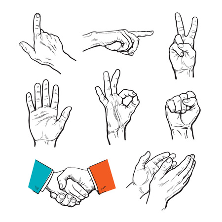 ok symbol: set of hands. Icons of different characters. Pointing finger. Clapping, applause, Stop and ok. Touching anything. Finger touch monitor. Finger points to something. Fist as a symbol of strength