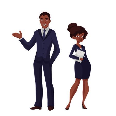Afrikaanse zakenman staande met zakenvrouw en glimlachend, cartoon vector illustratie van twee mensen uit het bedrijfsleven, man en zwarte geïsoleerde vrouw overzicht mensen in alle groei Stock Illustratie
