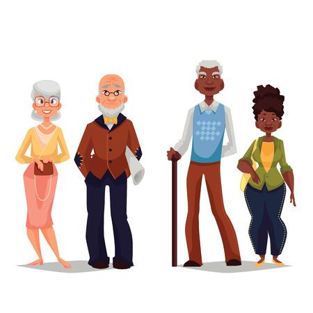 vejez feliz: Las parejas de edad avanzada, viejo hombre negro y una mujer mayor negro, crecido viejo matrimonio, vector de dibujos animados de un conjunto de personas sobre un fondo blanco, una gran edad