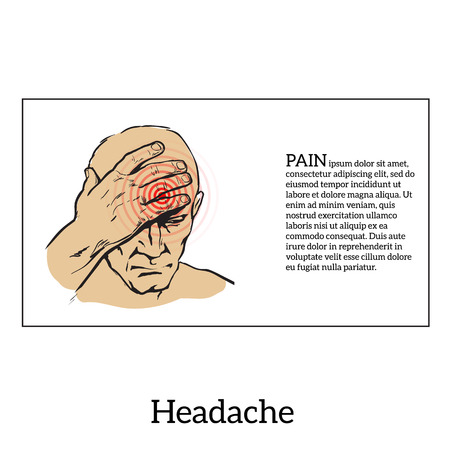 worried executive: Picture a man with a headache, vector illustration sketch of a man who holds his hand to his head, pain in the head of a man, the concept of sickness or disease in the human head