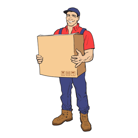 shipper: The guy is full height with the box, man holding parcel, color illustration, sketch style hand-drawn to the concept of delivery of stuff, transportation of goods, moving to another house Stock Photo