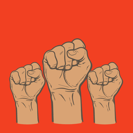 purposefulness: Many a mans fist on a red background, illustration sketch of three human hands raised up, drawn by hand, color art concept of resistance, strength, majority, fight, defending rights of society Stock Photo