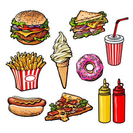 sauces: set fast food meal, vector sketch hand-drawn elements of fast food, ice cream burger, sandwich, soda lemonade, ponchos, pizza hot dog french fries, sauces, ketchup and mustard, fast food ready icons Illustration