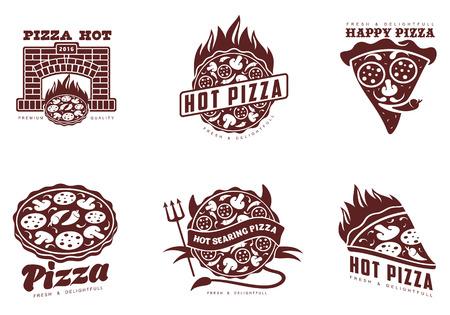 ロゴのピザ、ファーストフード、ベクトル モノクロ バッジ ピザ、ピザ、マッシュルーム、サラミ、ピーマン、ピザのスライスをオーブンでホット