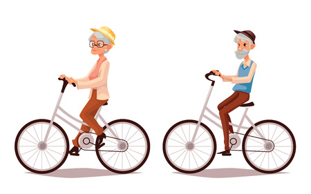 old people smiling: Mature couple riding bikes, vector cartoon illustration of two old people zhenschitsy men ride bicycles, old men and women involved in sports, old and the old ride bikes, isolated couple old people