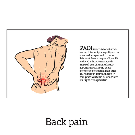 woman back pain: Lumbar pain in a woman back pain in a human vector outline sketch, black and white illustration with the concept of the disease back, violation of waist, lumbar vertebrae and intervertebral discs