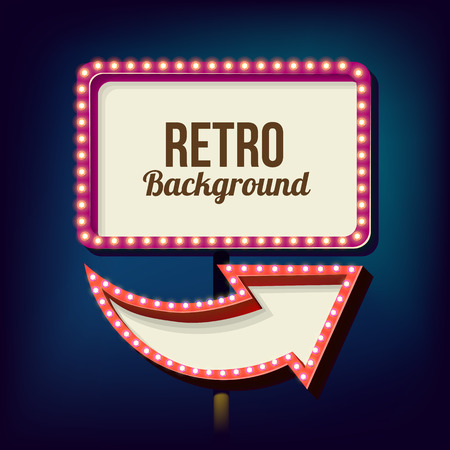 adboard: Retro night sign with an arrow. Vintage volumetric banner. Outdoor advertising. Realistic character to your text. Design ellement for your advertising banner. illustration