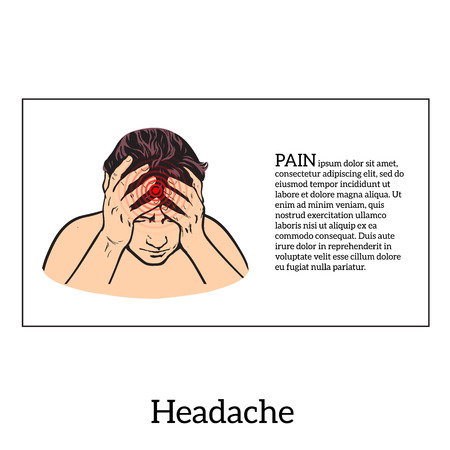 woman headache: Picture a woman with a headache, vector illustration sketch of a woman who holds his hand to his head, pain in the head of a woman, the concept of sickness or disease in the human head