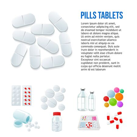 pharma: Large oval pills, different pills and white and color on a white background, vector illustration with a set of drugs, colorful products. Bottles and boxes with colored vitamins. Things to human health Illustration