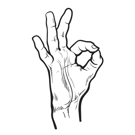 all in one: Hand showing OK. Painted hand. All perfectly. Everything is fine. Good. Fingers do the ring. OK symbol. Isolated hand. One hand. Painted illustration of hands. Symbol everything is fine. Stock Photo