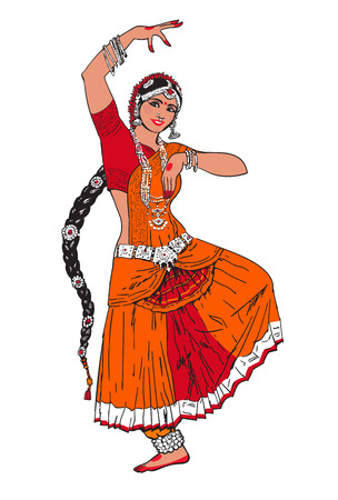 bharatanatyam: Bollywood star. Dancing girl. Indian dance. Oriental girl dancing on a white background. Girl in red oriental dress. Indian dance, movement, film. illustration Stock Photo
