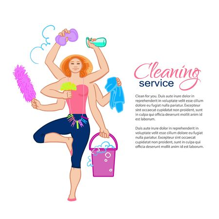 purify: Cleaning services. The cleaner with a mop. Cleaning homes and offices. Cheerful girl with a bucket. She will purify all.  illustration