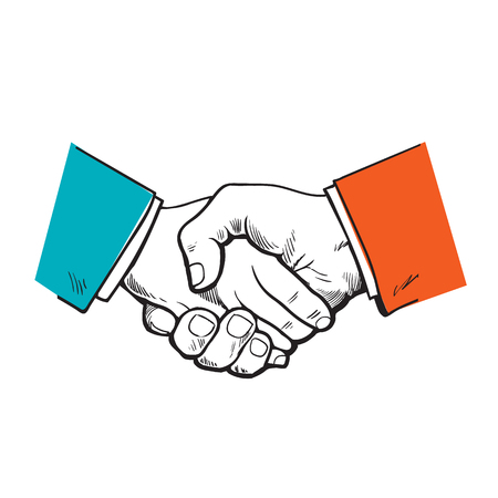 meet and greet: Painted handshake. the partnership. symbol of friendship, partnership and cooperation. Sketch handshake. A strong handshake. Business and handshake. The cooperation of people, firms.