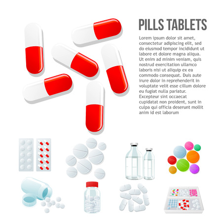 psychotropic medication: Large oval pills, different pills and white and color on a white background, vector illustration with a set of drugs, colorful products. Bottles and boxes with colored vitamins. Things to human health Illustration