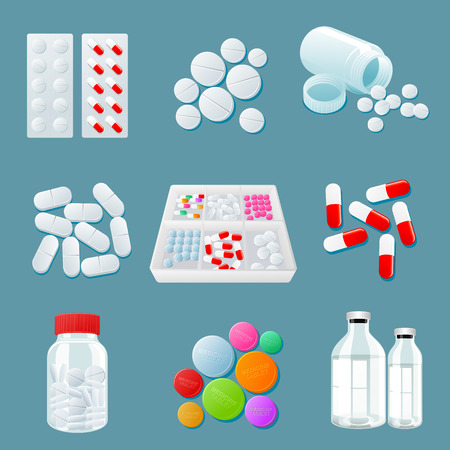 psychotropic medication: medicaments of various types, set of medical pill, vector Medicine isolated on a colored background, colorful products. Bottles and boxes with colored vitamins. Things to human health.