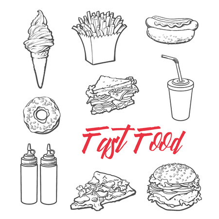 set fast food meal, vector sketch hand-drawn elements of fast food, ice cream burger, sandwich, soda lemonade, ponchos, pizza hot dog french fries, sauces, ketchup and mustard, fast food ready icons Illustration