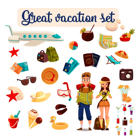 avion caricatura: establecer el concepto de viaje de vacaciones de verano en la playa, los turistas de dibujos animados ir de excursión en el tráfico entre países, vacaciones, conjunto de elementos del vector de iconos, tarjeta, billete de avión,, pasaporte, materia de la playa, avión Vectores