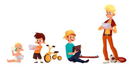 Kinderen jongen van verschillende leeftijden gespeeld in tablet en niet spelen in de straat, vector cartoon begrip van de hedendaagse kinderen, de kinderen zitten en chatten op het internet, vier jongen op zoek naar smartphone