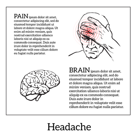head pain: Picture a man with a headache, vector illustration sketch of a man who holds his hand to his head, pain in the head of a man, the concept of sickness or disease in the human brain Illustration