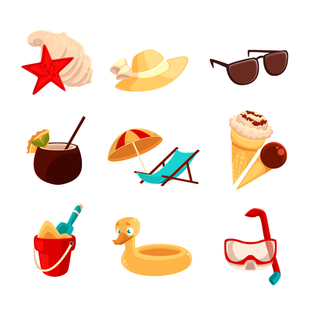 rubber ring: Great set for holidays, cartoon colored icons and elements for beach and vacation isolated objects, beach holidays, koktelyl, hat, rubber ring, underwater mask, ice cream, sun lounger Stock Photo