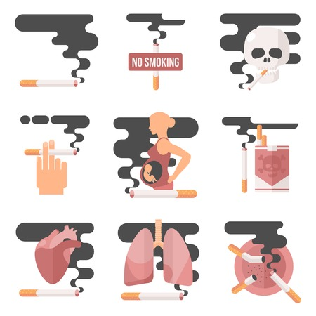 cigar smoking man: Icons about smoking, vector illustration Flete, the dangers of smoking, health problems due to smoking, pregnant woman, nicotine dangerous smoke, danger to life and limb due to nicotine Illustration