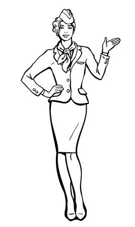 cabin attendant: Blonde stewardess. stewardess in blue uniform. Waitress shows up on the information. Image stewardess on a white background. Empty space for information. Stewardess in blue suit and gloves