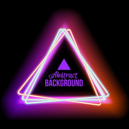 neon sign: Neon triangle. Neon red light. electric frame. Vintage frame. Retro neon lamp. Space for text. Glowing neon background. Abstract electric background. Neon sign triangle. Glowing electric frame