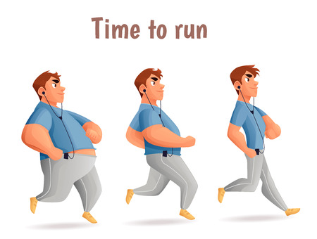 slimming: Evolution Slimming men, cartoon vector illustration of three men of different obesity running, fat, fatness, sports people, the desire for healthy and sporty body, fitness exercises for weight loss