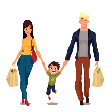 piggyback: Family buying, cartoon vector illustration, isolated on a white background, a little boy and his parents went shopping, young and beautiful family packages of food, happy people after shop Illustration