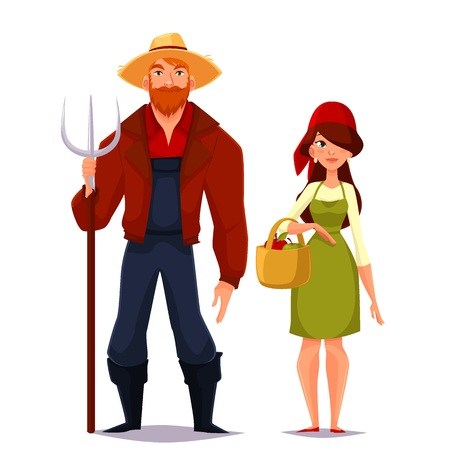 peasant woman: Farmer couple of spouses, vector cartoon isolated on a white background illustration of a man wearing a straw hat and a pitchfork, red shirt, a girl in scarf and basket assembly vegetables
