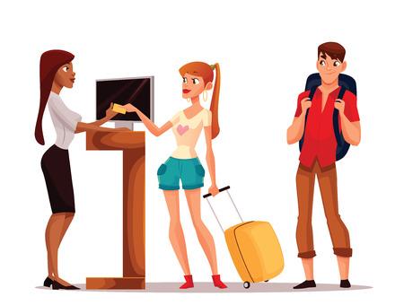 Buchung von Hotelzimmern, Vektor-Cartoon-Illustration eines lustigen Comic, junges Paar den Schlüssel zu ihrem Zimmer nehmen, ein Mann und eine Frau im Urlaub in einem Hotel zu wohnen, Hotelrezeption