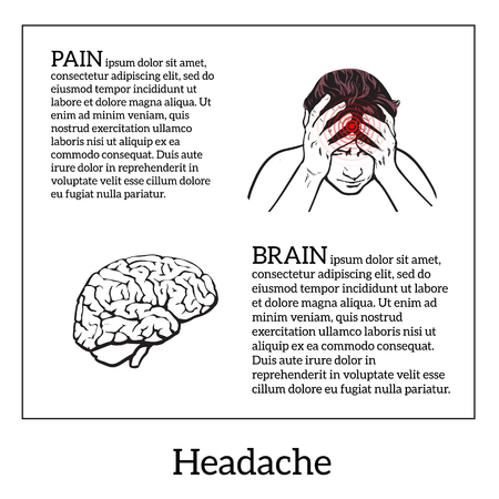 woman headache: Picture a woman with a headache, brain vector illustration sketch of a woman who holds his hand to his head, pain in the head of a woman, the concept of sickness or disease in the human head