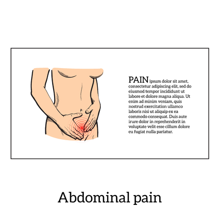 abdomen: Concept illustration of a womans pain in stomach, menstrual cramps, diarrhea, indigestion, girl holding hands on a sick stomach, vector sketch kartnika on a white background with a red area of pain