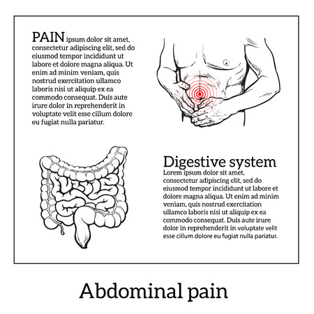 Abdominal pain in men, stomach and bowel disease, digestive problems, sick intestines, vector sketch hand-drawn image of the man holding his sick stomach, intestines detailed image, health problems Illustration