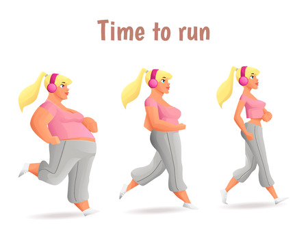 fatso: Evolution Slimming women, cartoon vector illustration of three women of different obesity running, fat, fatness, sports people, desire for healthy and sporty body, fitness exercises for weight loss