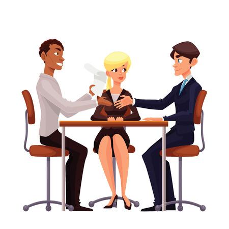 Las conversaciones en la mesa, vector de la historieta cómica sobre un fondo blanco, una entrevista de trabajo, discutir temas importantes de una empresa, hombres de negocios jóvenes apretón de manos después de la negociación, ofreciendo su pareja