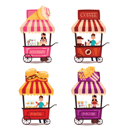 cart: Fast food cart, cartoon set isolated on a white background, street selling ice cream, garburgera, burgers, hot dogs, coffee in the street, a different street fast food sellers Illustration