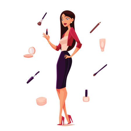 perfumery concept: She is difficult to choose the necessary her makeup, cartoon illustration isolation, cosmetics and beautiful girl, attributes for a young and beautiful woman, before choosing the right makeup