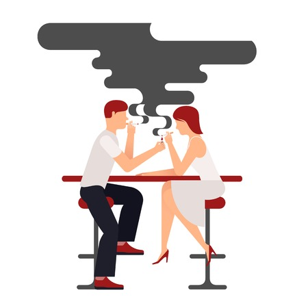 smokers: Two people smoking, illustration plane isolate on white background smokers man and woman sitting at the table, a lot of black smoke over the pair, a date in a bar in the smoking compartment