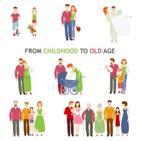 gran conjunto de personas de diferentes edades, plana está aislado en un fondo blanco, la vida, desde el nacimiento hasta la vejez, la historia de amor, la historia familiar, las personas crecer y hacer el amor familiar, pequeño para edad