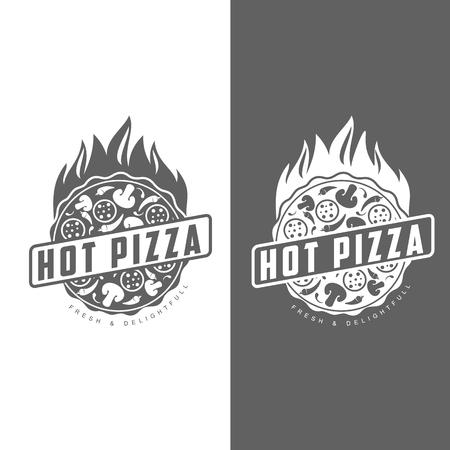 pizza, comida rápida, insignias monocromas pizza, pizza con champiñones, salami, en el horno, rebanada de pizza con pimientos, caliente la comida rápida italiana, etiquetas para productos alimenticios, cafetería, restaurante