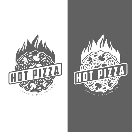 Pizza, Fast Food, monochrome Abzeichen Pizza, Pizza mit Pilzen, Salami, im Ofen, ein Stück Pizza mit Paprika, heißen italienischen Fast-Food, Etiketten für Lebensmittel, Café, Restaurant