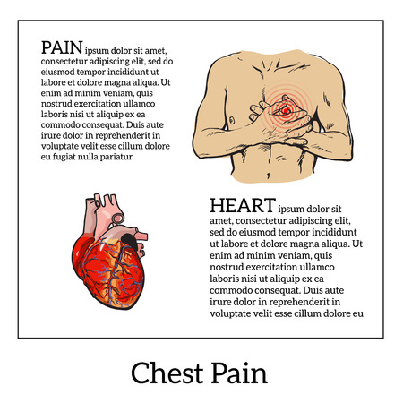 Information about heart pain, chest pain in men, anatomical image of the human heart, sketch hand-drawn illustration of heart and human patients suffering from chest pains man holding chest