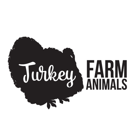 turkey bird: Black contour farm animal with a white lettering  inscription inside, turkey bird animal, outline for the product, illustration contour farming turkey bird with lettering